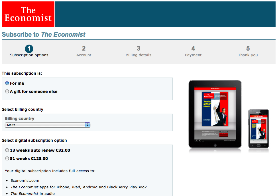 Buy digital Economist online for tablet, smartphone etc...